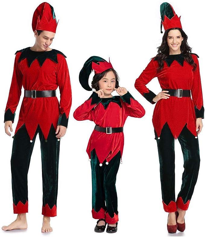 Disfraz de Elfo Rojo para la Familia, para Hombre, Mujer, niños ...