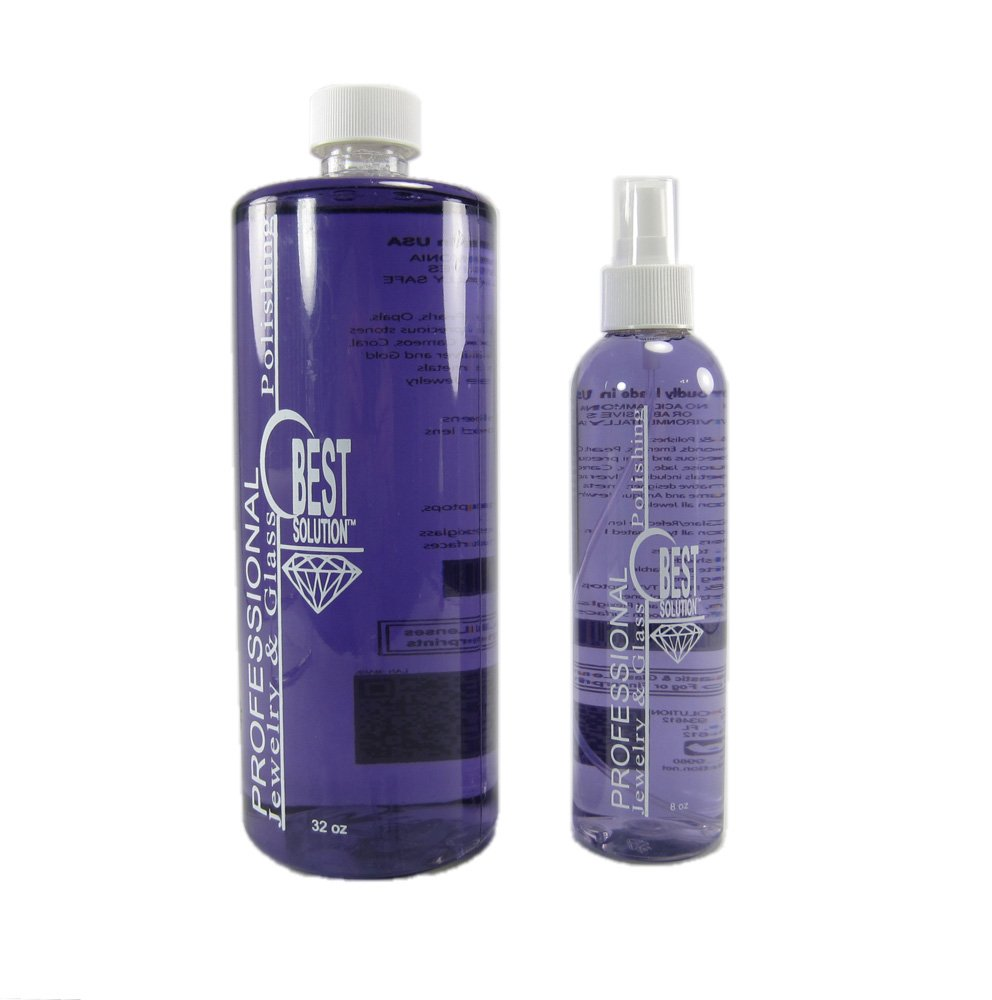 Best Solution Silver Gold Diamonds Costume Jewelry Cleaner 32oz Bottle with 8oz Spray Bottle