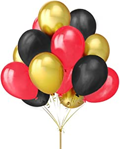 "Fecedy 12"" Gold Black Red Latex Balloons For Party 100pcs"