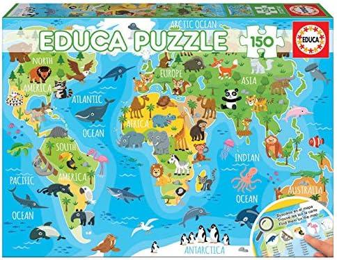 Educa- Mapamundi Animales Puzzle Infantil de 150 Piezas, a Partir de 6 años (18115): Amazon.es: Juguetes y juegos