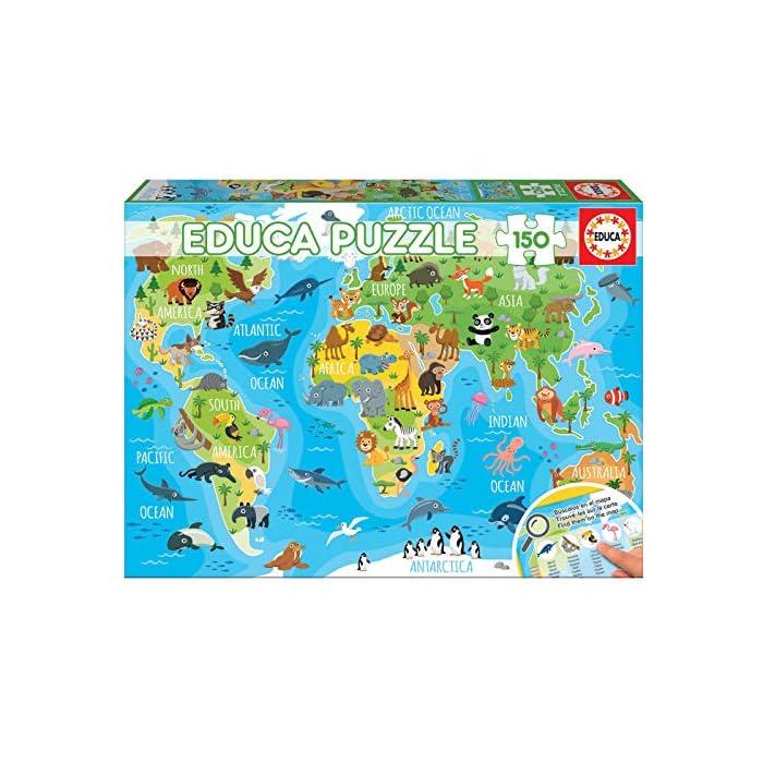 61eKtFRPbYL Puzzles de 150 piezas , horas de diversión y entretenimiento; dimensiones aproximadas del puzzle montado: 40 x 28 cm Puzzles inspirados en Mapamundi Animales Compuestos por grandes piezas, perfectamente acabadas para que sea sencilla y segura su manipulación por los niños
