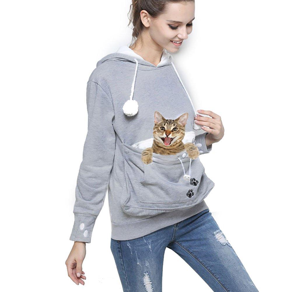 Womens Pet Carrier Shirts Kitten Puppy Holder Sweatshirt Animal Pouch Hood Tops