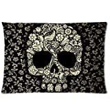 Sugar Skull Flower Pattern Zippered Pillow Case 20x30 (one sides) by Bedroom Pillowcase