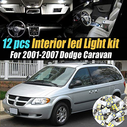 12Pc Super White 6000k Car Interior LED Light Bulb Kit Pack Compatible for 2001-2007 Dodge Caravan