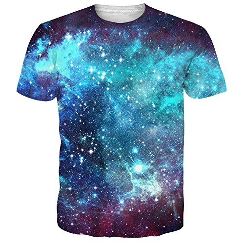 Alistyle Mens Womens Fashion 3D Galaxy Print T-Shirts Noverty Printing Pattern Tees Medium