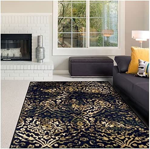 Superior Northman Collection Area Rug, Vintage Ikat Damask Pattern, 10mm Pile Height with Jute Backing, Affordable Contemporary Rugs – Navy Blue, 8 x 10 Rug