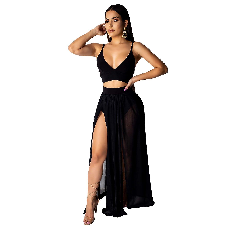 Womens 2 Pieces Outfit Jumpsuit Spaghetti Strap Crop Top High Split Long Maxi Romper Dress