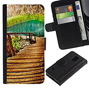 KingStore / Leather Etui en cuir / Samsung Galaxy S5 V SM-G900 / Naturaleza Hermosa Forrest Verde 9