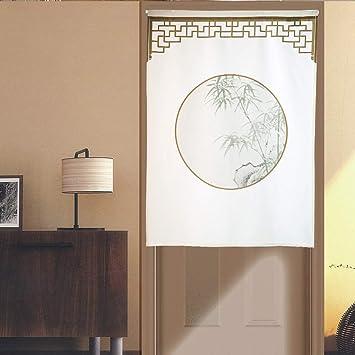 Rideau Style Chinois Tissu Coton Et Lin Rideau De Séparation Rideau