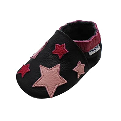 Mejale Baby Shoes Soft Sole Leather Crawling Moccasins Cartoon Star Infant Toddler First Walker Slippers