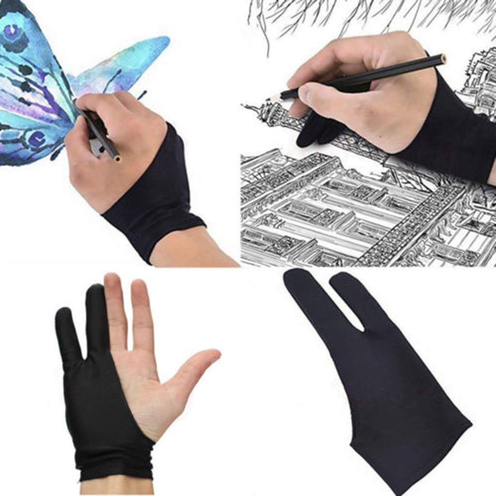 Fullwei Professional Two Finger Anti-fouling Glove Drawing & Pen Graphic Tablet Pad For Artist Black (1 Unit of Free Size, Good for Right Hand or Left Hand) (B)