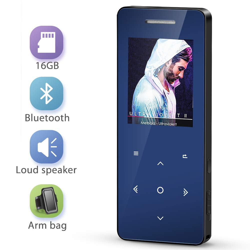 MP3 Player with Bluetooth 4.1, MayBest 16GB Music Player with Speaker, Portable Lossless Digital Audio Player with FM Radio Voice Recorder, Metal Touch Button with Armband, Support up to 128 GB(Blue)