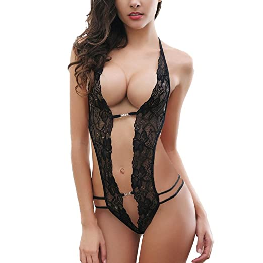 63cf77ddea5 Image Unavailable. Image not available for. Color: Zeshlla Women's Sexy Lingerie  Bodysuit Lace Hollow Out Teddy One Piece Babydoll Exotic Nightwear Dress