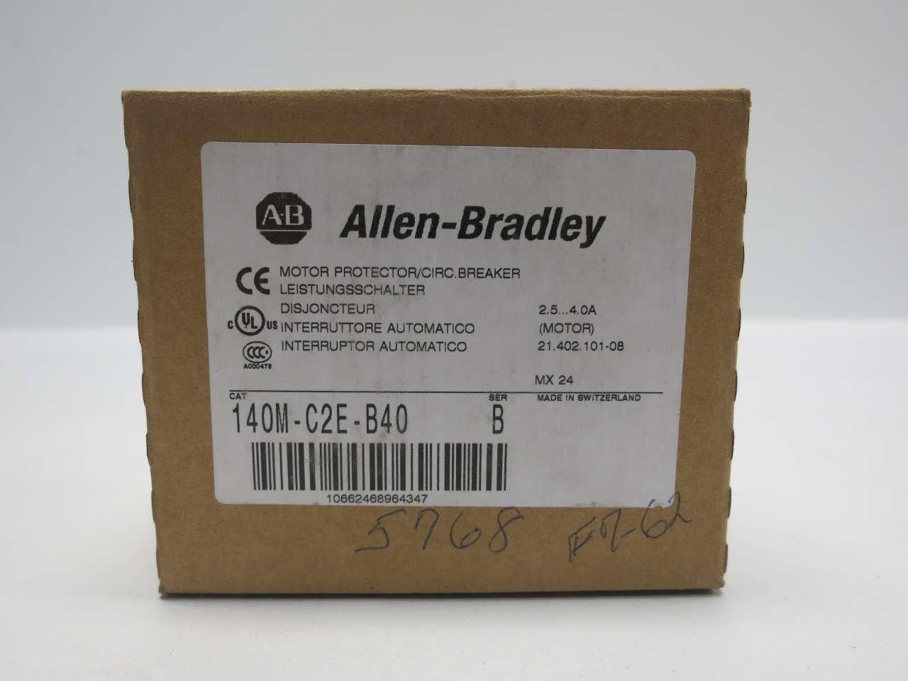 NEW ALLEN BRADLEY 140M-C2E-B40 SER B 3HP 2.5-4A AMP MANUAL MOTOR STARTER D512285 by Allen-Bradley (Image #7)