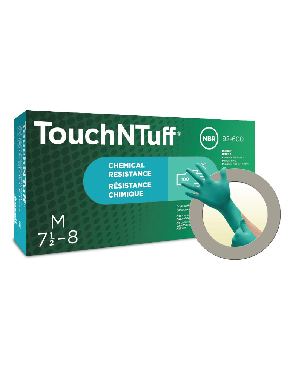 Ansell TouchNTuff 92-600 Nitrile Lightweight Glove with Beaded Cuff, Chemical/Splash Resistance, Powder Free, 4.7mil Thickness, 240mm Length, Size 8, Green (Box of 100) by Ansell (Image #3)