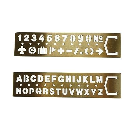 akoak 2 piece set brass english alphabets stencils and arabic numerals stencils with symbolsletter