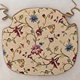 SET OF 4 FLORAL SPINDLE BACK SHAPED CHAIR SEAT PADS (For Seats Approx. 17' Wide X 15' Deep)