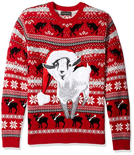 Ugly Goat - Blizzard Bay Men's Santa Goat Ugly Christmas Sweater, Red Combo, Small
