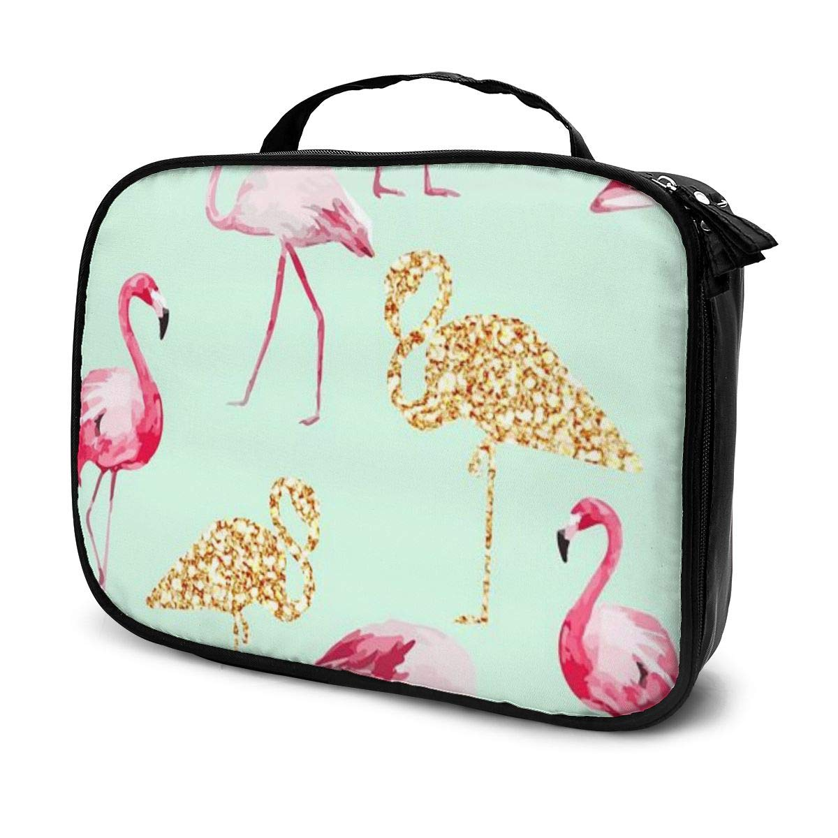 Lazy Toiletry Bag Clutch Bag, Pink Flamingo Gold Flamingo Cosmetic Train Case Organizer Large Capacity Carry On Bag, Luggage Pouch, Makeup Pouch For Women Girls