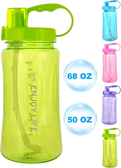 Portable Sport Travel Plastic Fruit Juice Water Bottle Cup with Straw VY