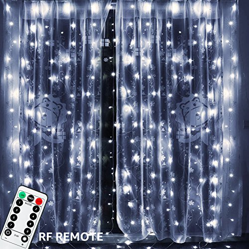 - TORCHSTAR 19.7ft x 9.8ft 600 LEDs Curtain Light, UL-Listed Power Adapter, RF Controller, Dual Control Mode, Low-Voltage Power Supply, 8 Lighting Modes, 5000K Daylight