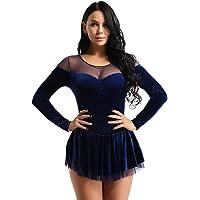 YiZYiF Vestido Patinaje Artístico Mujer Maillot Danza Latina