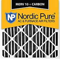 Nordic Pure 24x24x1PM10C-3 Pleated MERV 10 Plus Carbon AC Furnace Filters (3 Pack), 24 x 24 x 1