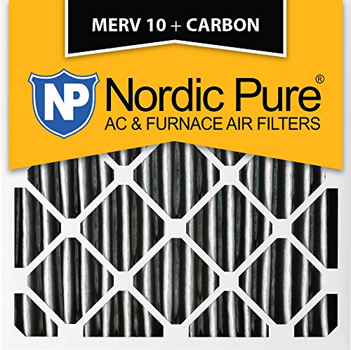 "Pure 14x 14x 1pm10C-3プリーツMERV 10PlusカーボンAC炉フィルタ3パック、14x 14x 1"""