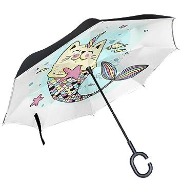 ALAZA Gato Sirena Estrella Invertida Paraguas Paraguas Plegable de Doble Capa Resistente al Viento Reverse para Coche con Mango de Laboratorio: Amazon.es: ...