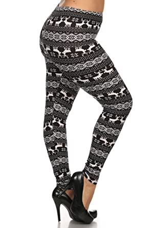 New Women's Popular Winter Christmas Printed Plus Size Leggings ...