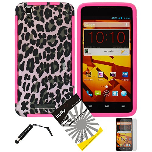 3 items Combo: ITUFFY (TM) LCD Screen Protector Film + Mini Stylus Pen + Design Wrap-Up Cover Faceplate Skin Phone Case for ZTE BOOST MAX N9520 (Boost Mobile) (Pink Leopard - Pink) (Lcd Screen For Boost Max)
