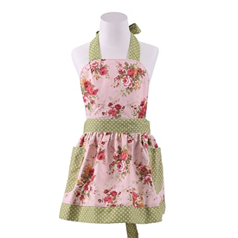 New Fashion Child Floral Garden Apron With 2 Pockets Lovely Classic Style  Pink Floral Children Cotton