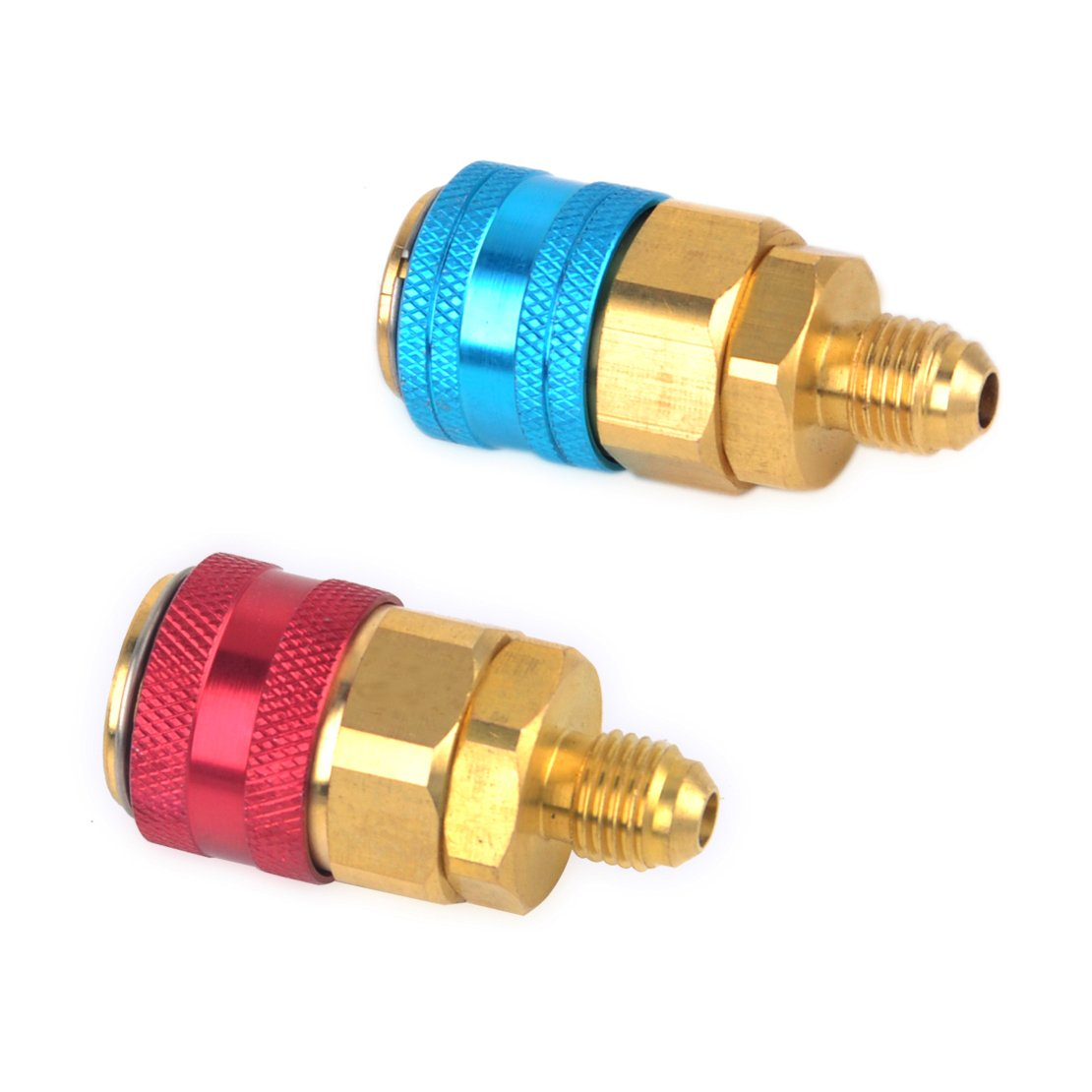 beler 2pcs Universal Car Auto Quick Coupler Connector Adapter Conversion High Low Side AC R134A hermeshine