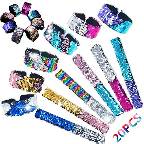 WANONEE 20 Pack Reversible Sequin Slap Bracelets Mermaid Snap Charm Wristbands for Girls Boys Women,2-Color Assorted Magic Flip Sequins Party Supplies -