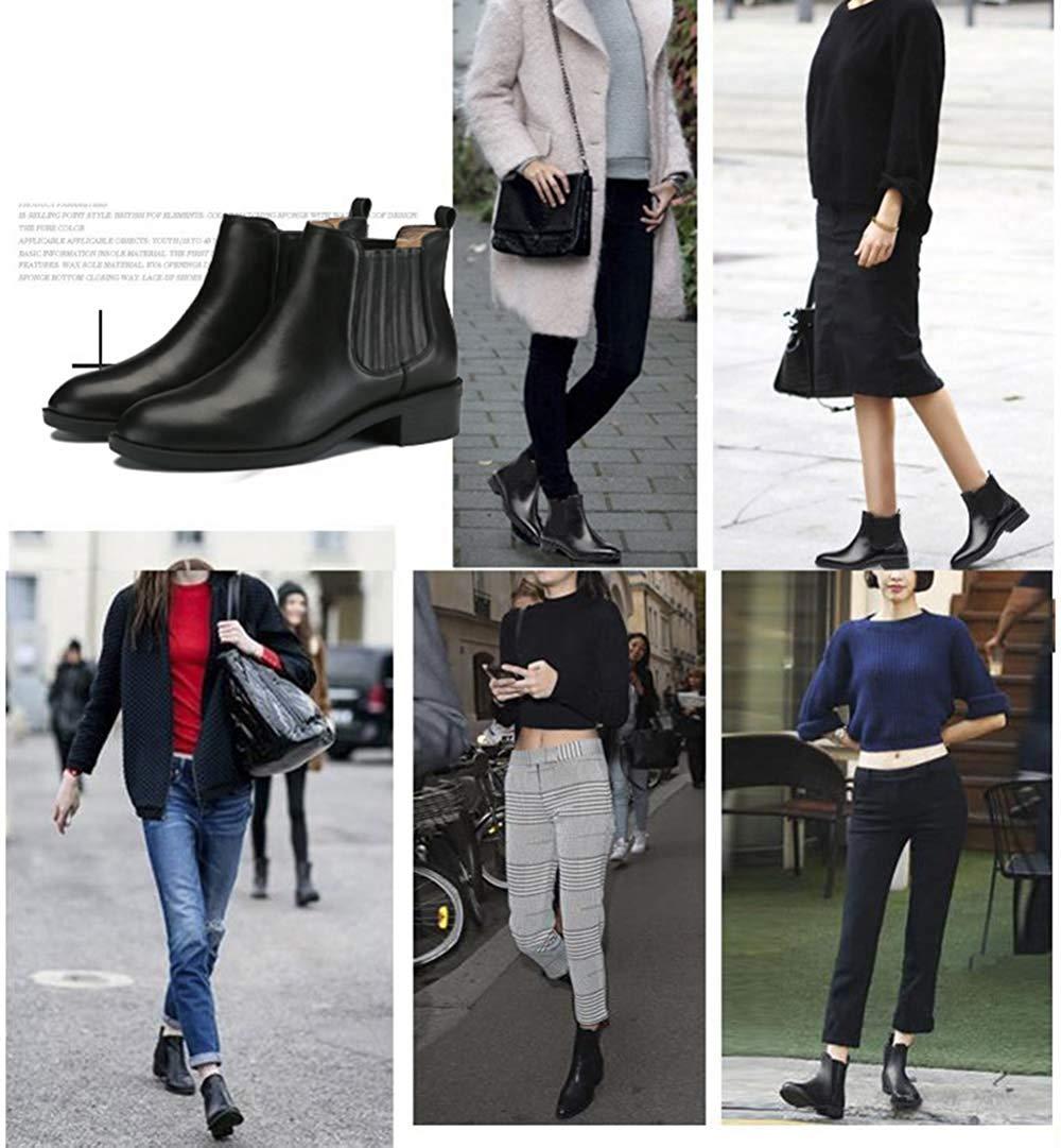 HhGold Frauen Winter Chelsea Chelsea Chelsea Stiefelies Retro England Flache Martin Stiefel Plus Samt Warme Schuhe (Farbe   Schwarz 1, Größe   34EU) bdcca7
