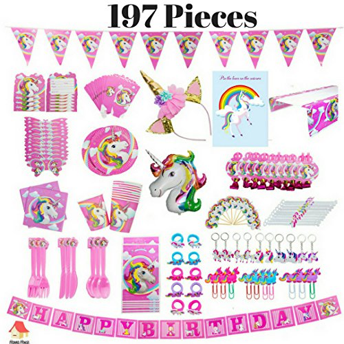 Unicorn Party Supplies - 197 Pieces with Unicorn Party Favors|Serve 10|Bracelet, Ring, Keychain, Bookmark| Pin in the Horn Game, Girl Headband, Disposable Tableware, Banner & Foil Balloon Decorations| by Hanna House