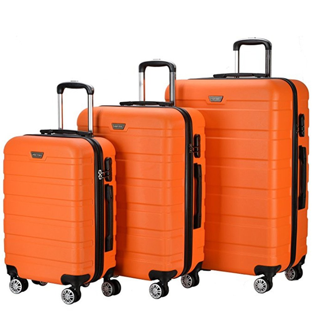 Resena 3 Piece Carry On Luggage Sets with Spinner Wheels Travel Suitcases (Orange) by Resena
