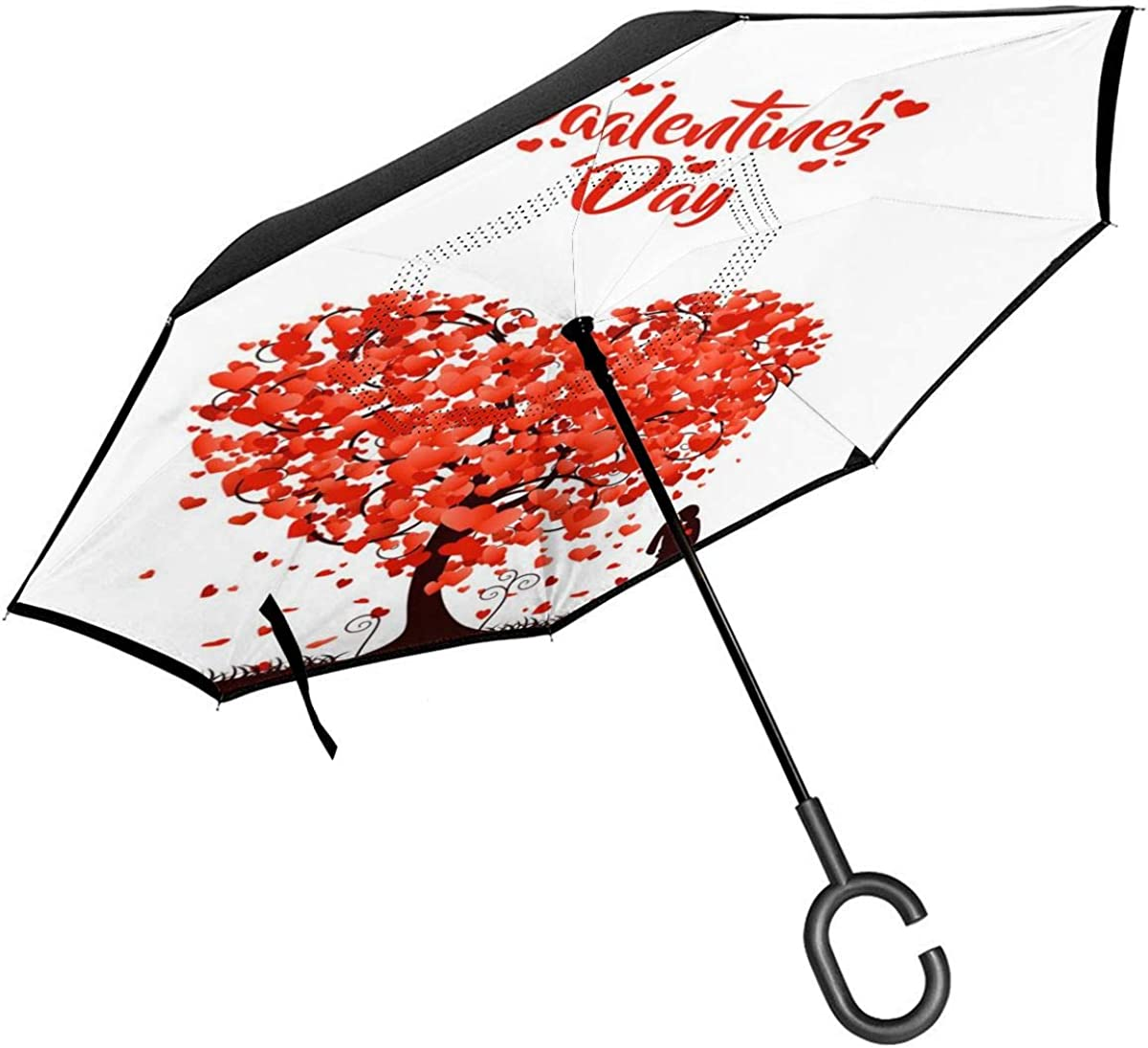 Happy Valentines Day Under The Love Tree Reverse Umbrella Double Layer Inverted Umbrellas For Car Rain Outdoor With C-Shaped Handle Customized