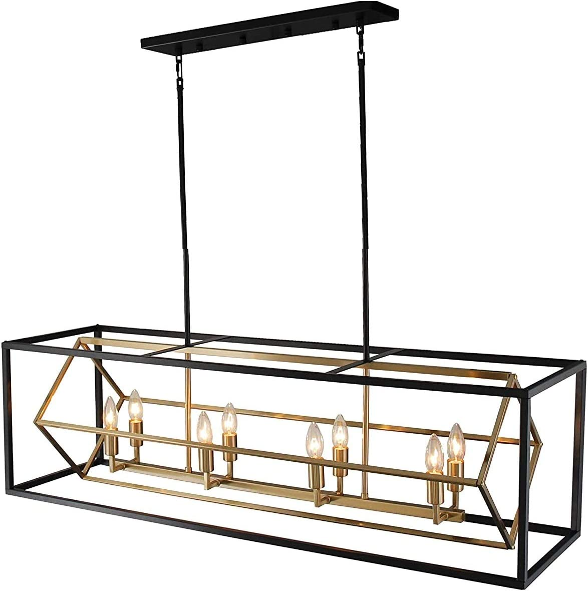 Titania 8-Light x 44 Dinning Room Island Fixture Black Metal Two Tones Linear Chandelier Open Cage Ideal for Dining Room, Game Rooms, Kitchen and Islands Brass