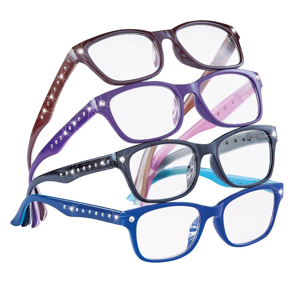 Cute Stylish Rhinestone Reading Glasses for Women, 4 ct, Multicolored, 3