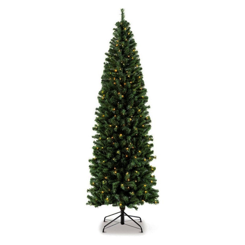 Artificial Christmas Tree. Fake 7.5 Foot Xmas Green Tree With Densely, Lush Foliage. It's Narrow Pine Shape Looks Neat & Festive. Great For Indoor, Small Spaces & Holiday Season Party Decor.