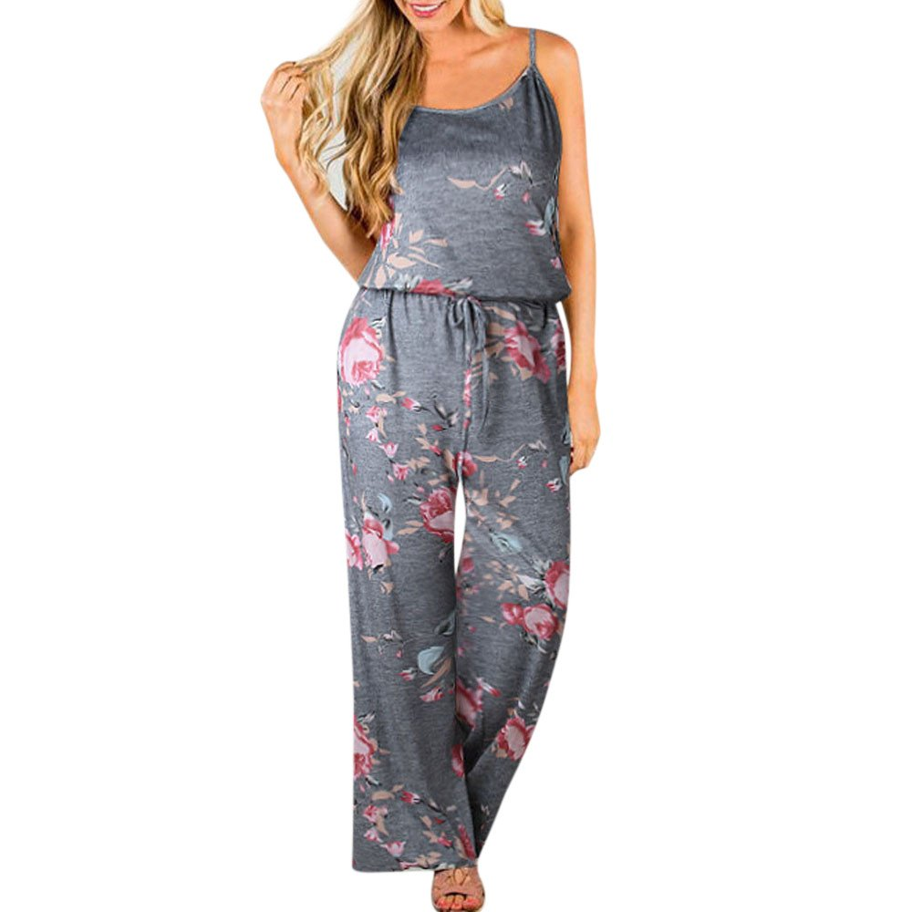 KYLEON Women's Jumpsuits Rompers Plus Size Floral Straps Girls Summer Casual Cute Party Ladies Long Playsuits Outfits