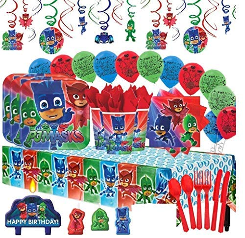 Amscan PJ Masks MEGA Deluxe Birthday Party Pack for 16 with Plates, Napkins, Cups, Cutlery, Tablecover, Candles, Hanging Swirl Decorations, and Balloons -