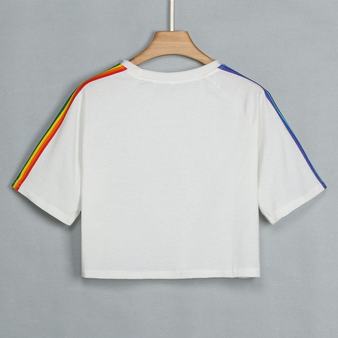 Arcobaleno Maglietta Donna Manica Corta Elegante Homebaby/® T Shirt Donna Vintage Top Tumblr Estiva Particolari Magliette Corte Ragazza Tumblr T-Shirt Donna