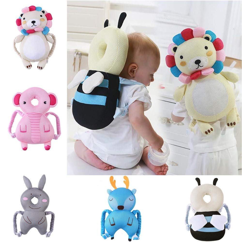 Youandmes Baby Head Protection Pillow, Cute Animal Toddler Headrest Pad Toy, Neck Protector Cushion for Edge Corner Guard