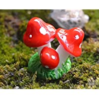 Bloom Bagicha Tri Mushroom for Fairy Garden/Landscaping/Tray Gardening/Terrariums (Set of 5 Pcs)