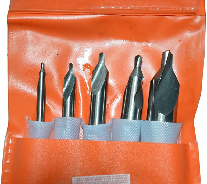 Oudtinx 5pcs Center Drill Countersink Lathe Bit Mill Tooling Set,HSS M2