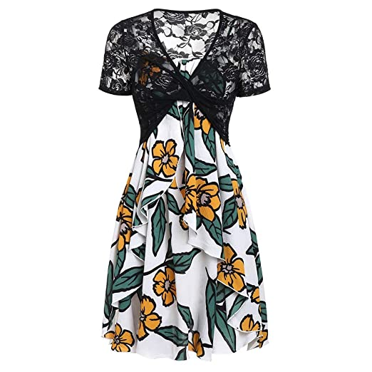2b60caf9b59eb Amazon.com: Casual Dresses for Women Summer,Short Sleeve Bow Knot ...