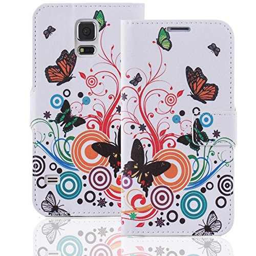 Apple iPhone 6 6S Handy Tasche mit Motiv Schutz Hülle aus PU Leder mit Kartenfächer und Standfunktion Etui Flip Case Wallet mit Butterfly Abbildung Motiv: QJC-146
