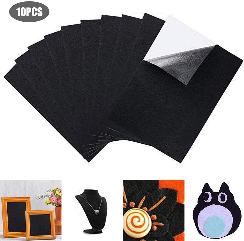 Jewelry Box Liner Multipurpose Velvet Sheet with Sticky Glue Back for Art /& Crafts Furniture Protector Pads Water Resistant 10 Count Black A4 Size Black Felt Fabric Adhesive Sheets